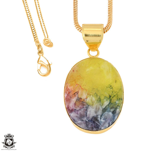 Rainbow Stalactite 24K Gold Plated Pendant 3mm Snake Chain GPH1147