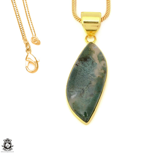 Moss Agate 24K Gold Plated Pendant 3mm Snake Chain GPH1617