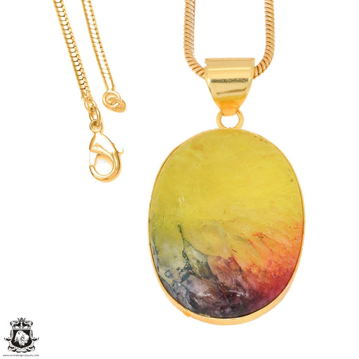 Rainbow Stalactite 24K Gold Plated Pendant 3mm Snake Chain GPH1136