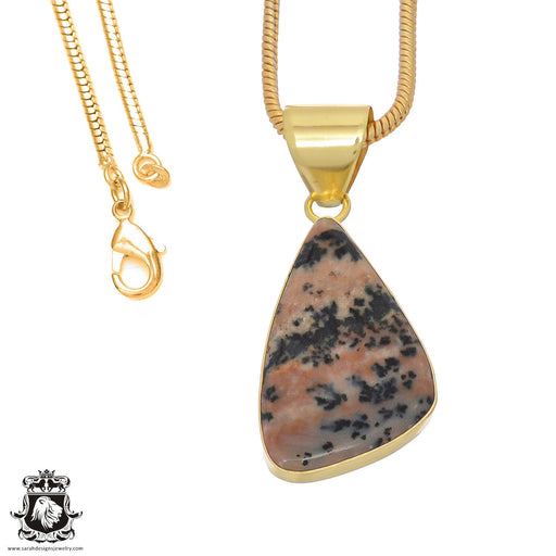 Merlinite Dendritic Opal 24K Gold Plated Pendant 3mm Snake Chain GPH762