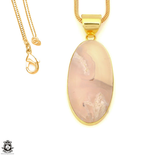 Stick Agate 24K Gold Plated Pendant 3mm Snake Chain GPH1569