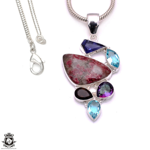 3.1 Inch Eudialyte Pendant 4mm Snake Chain P8193