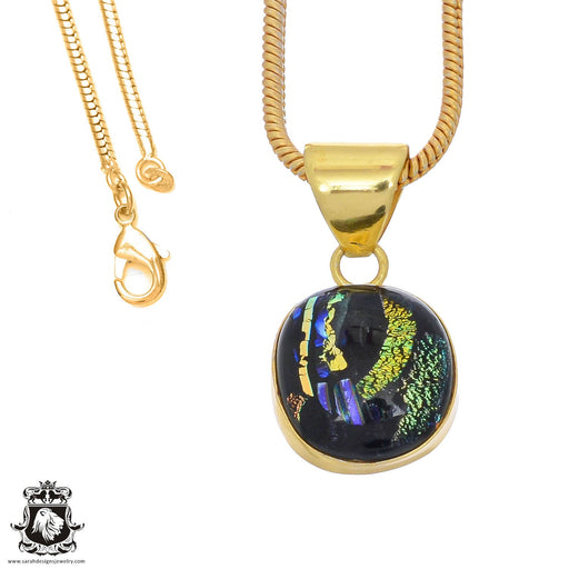 Dichroic Glass 24K Gold Plated Pendant 3mm Snake Chain GPH796