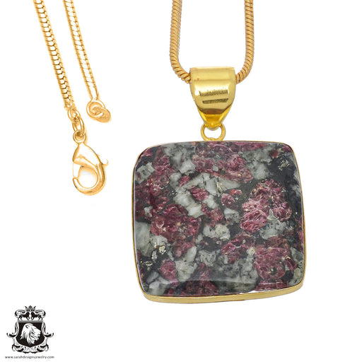 Eudialyte 24K Gold Plated Pendant 3mm Snake Chain GPH766