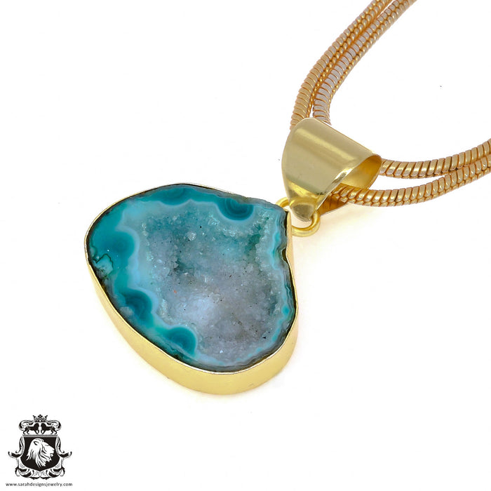 Tabasco Geode 24K Gold Plated Pendant 3mm Snake Chain GPH965
