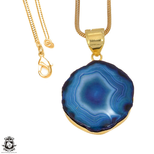 Ocean Blue Stalactite 24K Gold Plated Pendant 3mm Snake Chain GPH1150