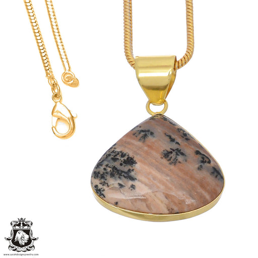 Merlinite Dendritic Opal 24K Gold Plated Pendant 3mm Snake Chain GPH753