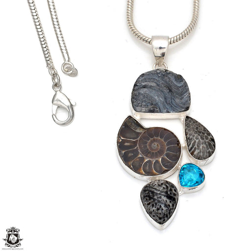 Ammonite Pendant 4mm Snake Chain P8363