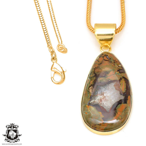 Rhyolite 24K Gold Plated Pendant 3mm Snake Chain GPH468