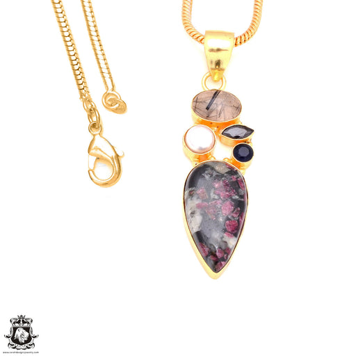 Eudialyte 24K Gold Plated Pendant 3mm Snake Chain GP130
