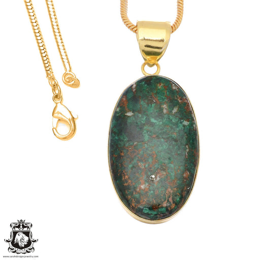 Sonora Sunrise Jasper 24K Gold Plated Pendant 3mm Snake Chain GPH1484