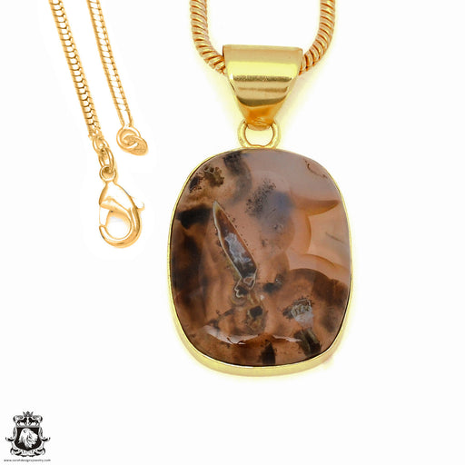 Stick Agate 24K Gold Plated Pendant 3mm Snake Chain GPH1768