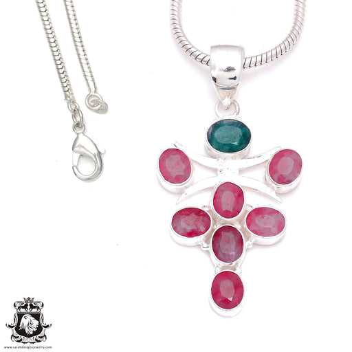 3 Inch Ruby Emerald Pendant 4mm Snake Chain P7958