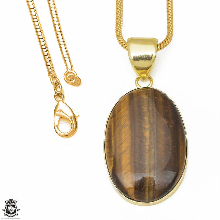 Tiger's Eye 24K Gold Plated Pendant 3mm Snake Chain GPH642