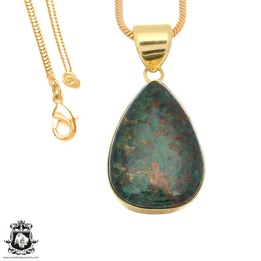 Sonora Sunrise Jasper 24K Gold Plated Pendant 3mm Snake Chain GPH1489