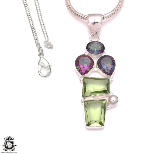 3 Inch 109 Carats Prasiolite Mystic Topaz Pendant 4mm Snake Chain P8296