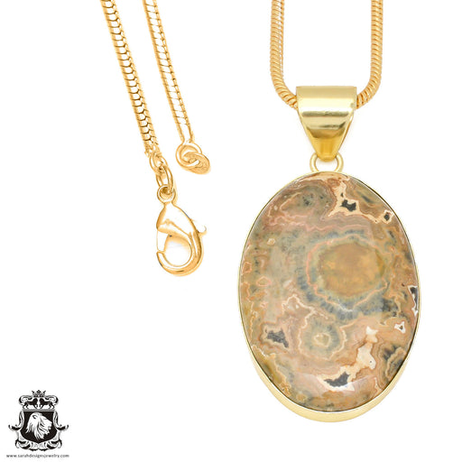 Rhyolite 24K Gold Plated Pendant 3mm Snake Chain GPH461