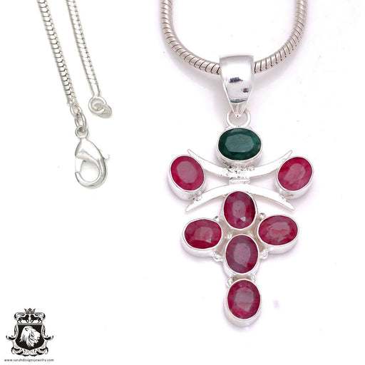 Emerald Ruby Pendant 4mm Snake Chain P8035