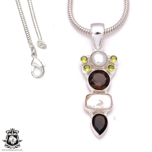 3 inch Pearl Smokey Topaz Pendant 4mm Snake Chain P8037