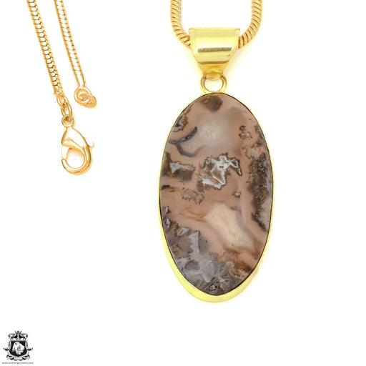 Stick Agate 24K Gold Plated Pendant 3mm Snake Chain GPH1583