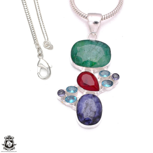 3 Inch Ruby Emerald Sapphire Pendant 4mm Snake Chain P8095
