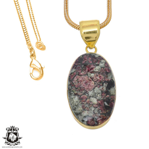 Eudialyte 24K Gold Plated Pendant 3mm Snake Chain GPH767