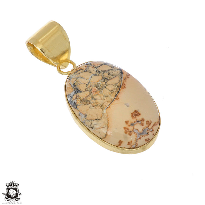 Yellow Dendritic Opal 24K Gold Plated Pendant 3mm Snake Chain GPH1104