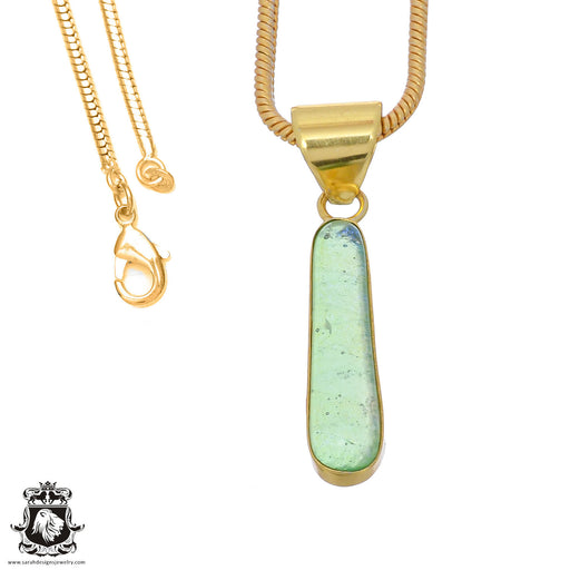Dichroic Glass 24K Gold Plated Pendant 3mm Snake Chain GPH785