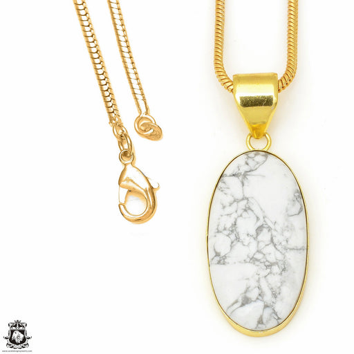 Howlite 24K Gold Plated Pendant 3mm Snake Chain GPH619