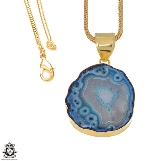 Ocean Blue Stalactite 24K Gold Plated Pendant 3mm Snake Chain GPH1161
