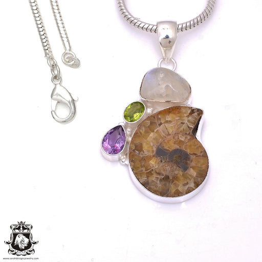 Ammonite Moonstone Pendant 4mm Snake Chain P7830