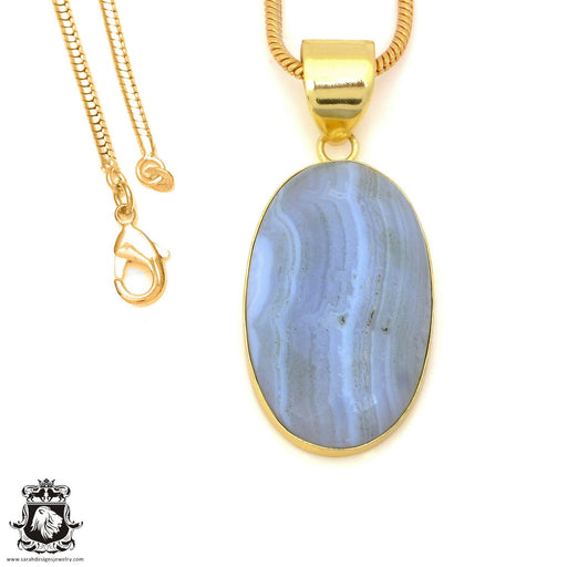 Blue Lace Agate 24K Gold Plated Pendant 3mm Snake Chain GPH1493