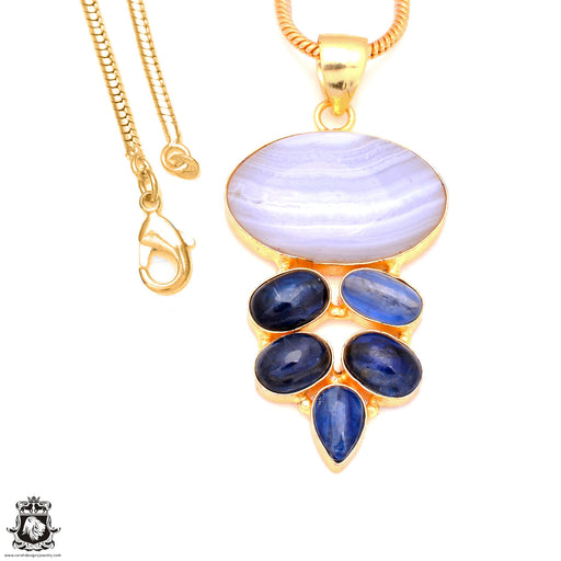 Blue Lace Agate Kyanite 24K Gold Plated Pendant 3mm Snake Chain GP140