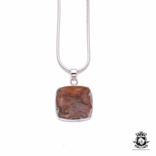 Agate GEODE Drusy Fine 925 975 Sterling Silver Pendant + Snake Chain P6291