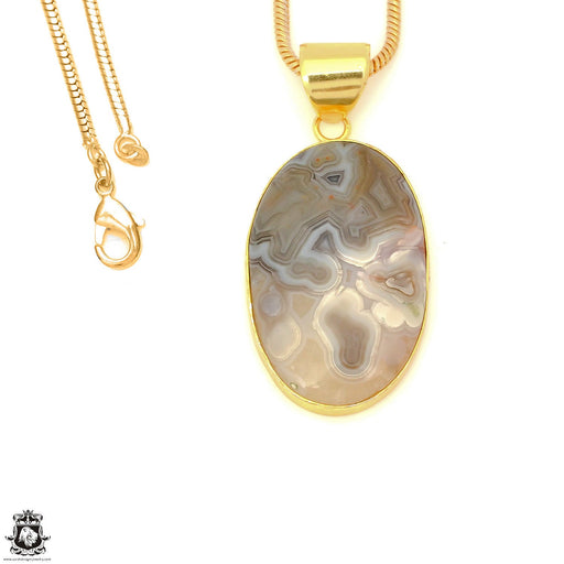 Stick Agate 24K Gold Plated Pendant 3mm Snake Chain GPH1570