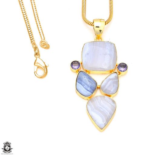 Blue Lace Agate 24K Gold Plated Pendant 3mm Snake Chain GP214