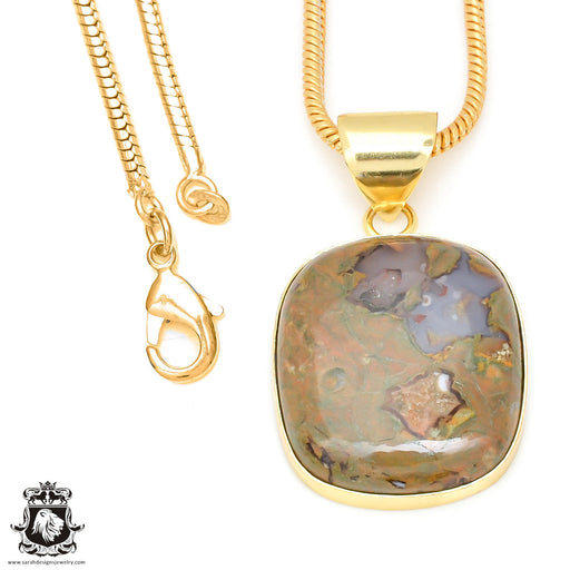 Rhyolite 24K Gold Plated Pendant 3mm Snake Chain GPH463