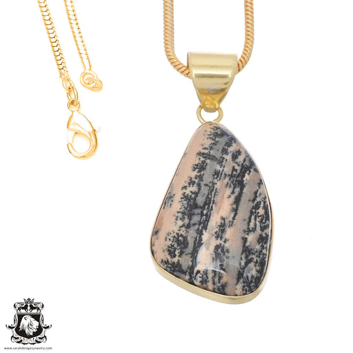 Merlinite Dendritic Opal 24K Gold Plated Pendant 3mm Snake Chain GPH750