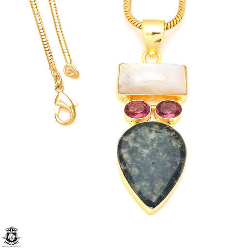 Moonstone Moss Agate 24K Gold Plated Pendant 3mm Snake Chain GP230