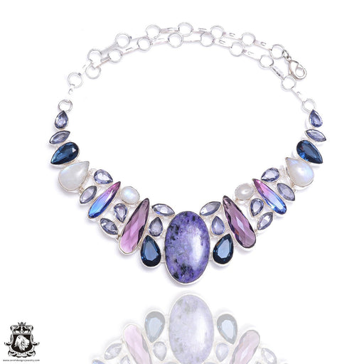Charoite Iolite Moonstone Necklace NK48