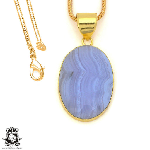 Blue Lace Agate 24K Gold Plated Pendant 3mm Snake Chain GPH1500