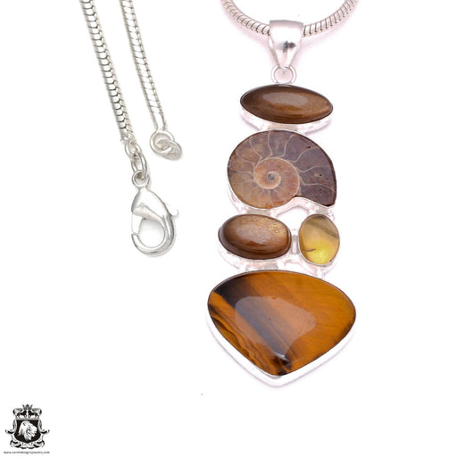 3.9 Inch Ammonite Tiger's Eye Pendant 4mm Snake Chain P8101