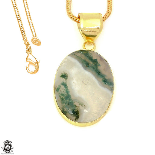Moss Agate 24K Gold Plated Pendant 3mm Snake Chain GPH1612