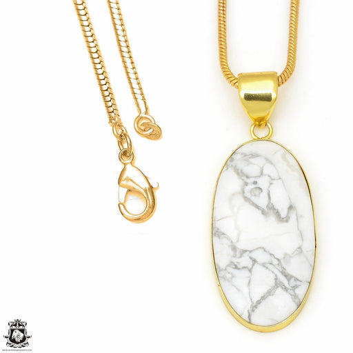 Howlite 24K Gold Plated Pendant 3mm Snake Chain GPH617