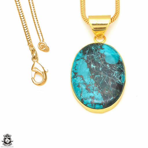 Chrysocolla 24K Gold Plated Pendant 3mm Snake Chain GPH502