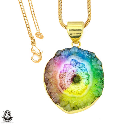 Rainbow Stalactite 24K Gold Plated Pendant 3mm Snake Chain GPH1215