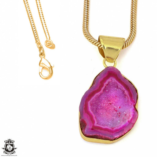 Cobalto Calcite Geode 24K Gold Plated Pendant 3mm Snake Chain GPH1191
