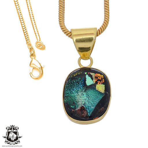 Dichroic Glass 24K Gold Plated Pendant 3mm Snake Chain GPH795
