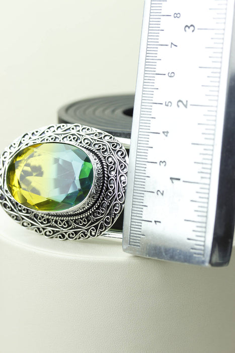 Chrome Tourmaline Silver Belt Buckle T17