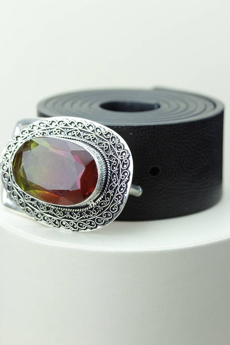 Watermelon Tourmaline Quartz Belt Buckle T49